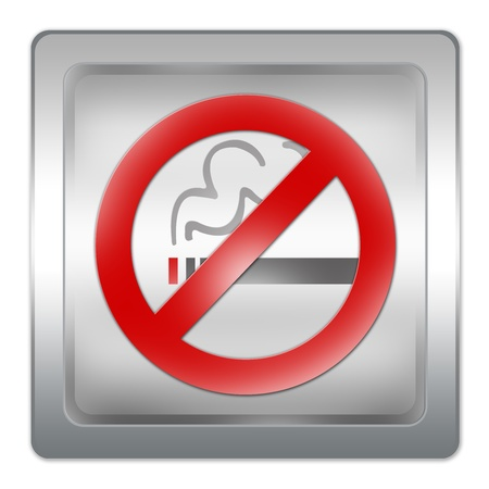 No Smoking Area With Square Metallic Plate Isolated on White  photo