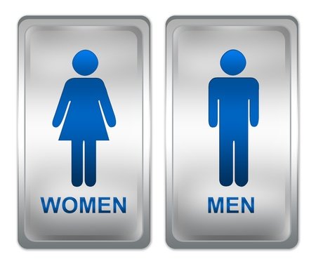 Toilet Sign, Square Metallic Plate With Men and Women Sign Isolated on White Stock Photo - 17452466