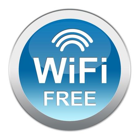 Cirkel Blauwe Glanzende stijlicoon Met WiFi Gratis Tekst isoleren op witte achtergrond