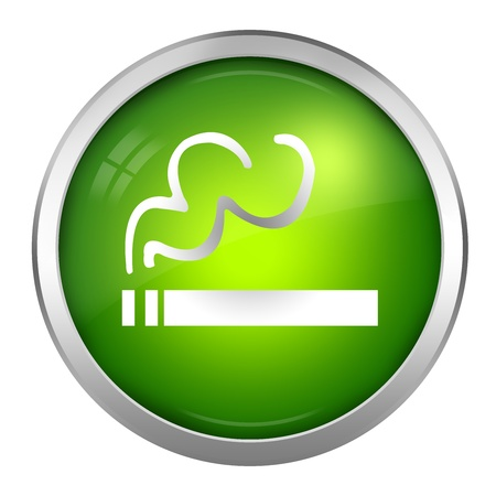 Green Glossy Style Smoking Area Sign Isolated on White Stock Photo - 17452471