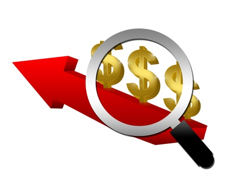 Magnify Glass With Golden Dollar on Red Arrow Moving Up Isolated on White Background for Business Concept  Stock Photo - 17452852