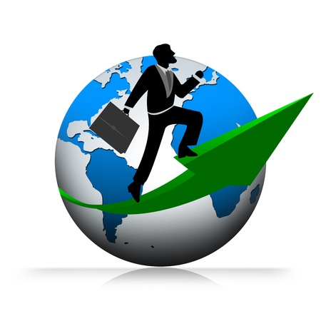 loss leader: Businessman Ride The Arrow Pointing Up Direction From The Globe Isolated on White Background