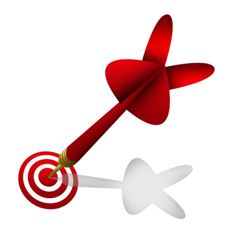 The Red Dart Hitting A Target For Business Concept Isolated On White Background  Stock Photo - 17452854