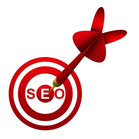 Dart Hitting A SEO  Search Engine Optimization   Target Isolated On White Background  Stock Photo - 17452851