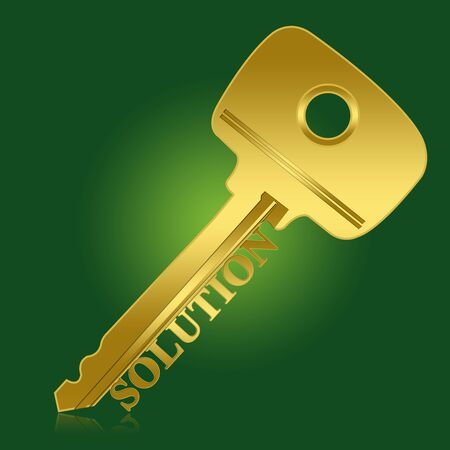 Business Concept, Golden Key With Solution Text As Key for Solution in Green Glossy Style Background  photo