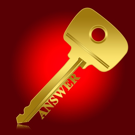 interrogatory: Problem and Solution Concept, Present With Golden Key With Answer Text As Key for Answer in Red Glossy Style Background