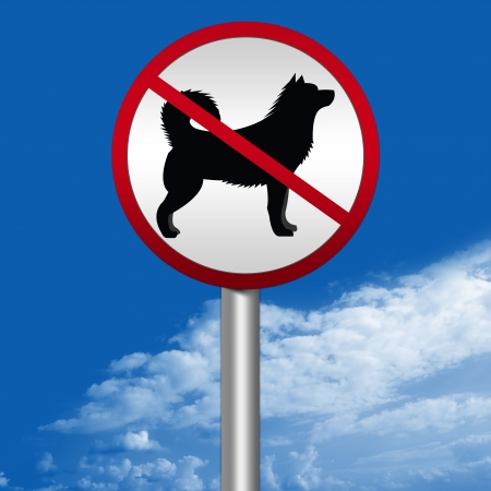 Prohibited Circle Street Sign With Dogs Are Not Allowed Sign Stand in Blue Sky Background  photo
