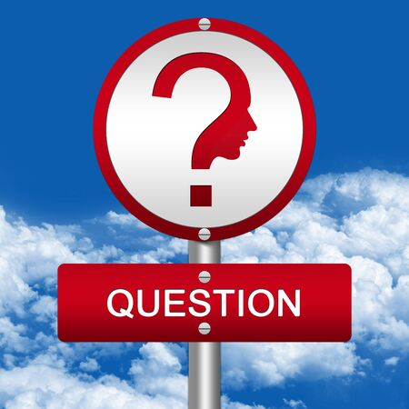The Question Street Sign and Question Mark With Face Sign in Blue Sky Background  photo