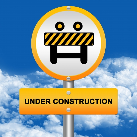 Yellow Under Construction Street Sign With With Site Fence Icon Stand in Blue Sky Background Stock Photo - 17454978