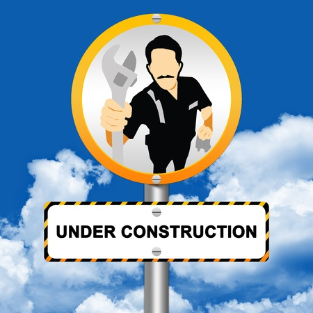 Under Construction Street Sign With The Technician Icon Stand in Blue Sky Background  photo