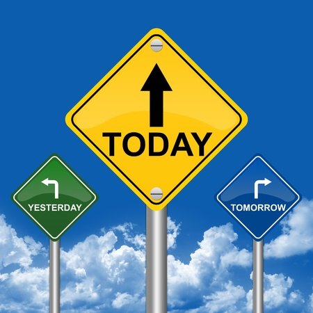 3 Choices of Colorful Street Sign Pointing to Tomorrow, Today and Yesterday With Blue Sky Background photo