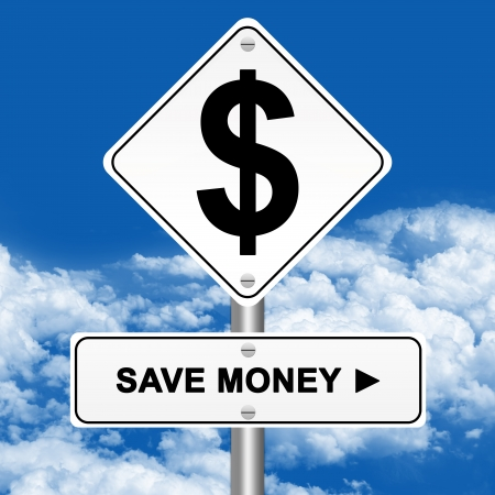 Yellow Save Money Street Sign With Dollar Symbol Stand on Blue Sky Background  Stock Photo - 17454982