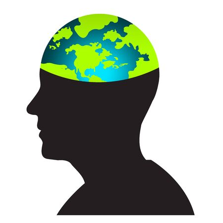 Think Green Idea Concept With Open Head Show The Earth as Brain Isolated on White Background Stock Photo - 17454967