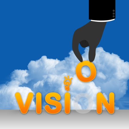 The Business Concept, The Hand With Vision in Blue Sky Background  photo