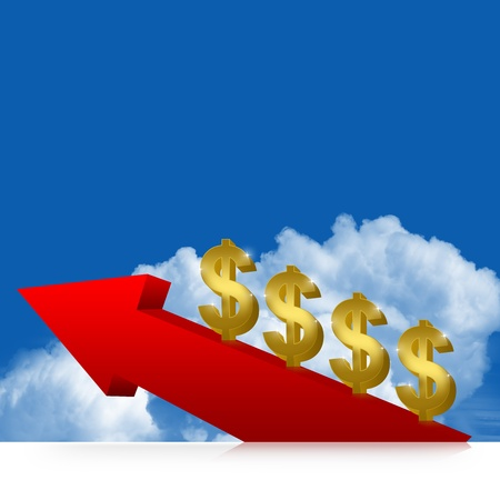 Golden Dollar and Red Arrow Moving Up With Blue Sky Background Stock Photo - 17455092