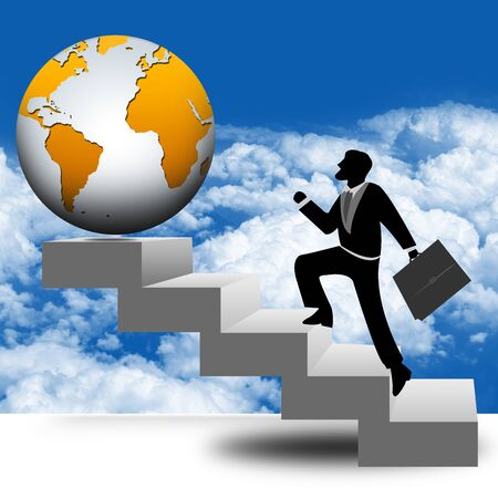 Business Idea Concept, The Businessman Stepping Up a Stairway to The Globe With Blue Sky Background Stock Photo - 17455111