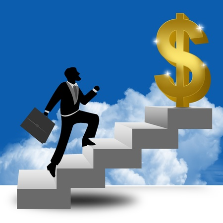 The Businessman Stepping Up a Stairway to The Golden Dollar Sign With Blue Sky Background  Stock Photo - 17455081