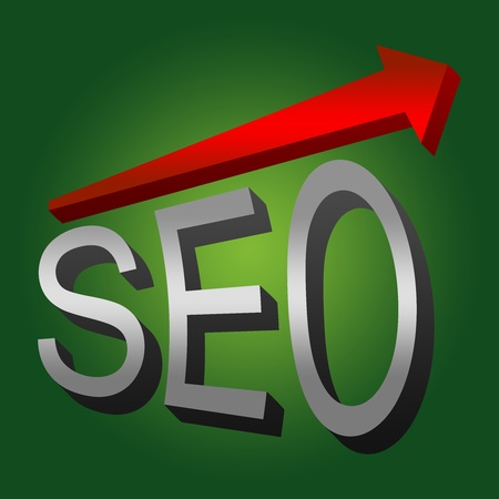 SEO Concept, Present With 3D Silver SEO and Red Glossy Arrow With Green Glossy Style Background  photo