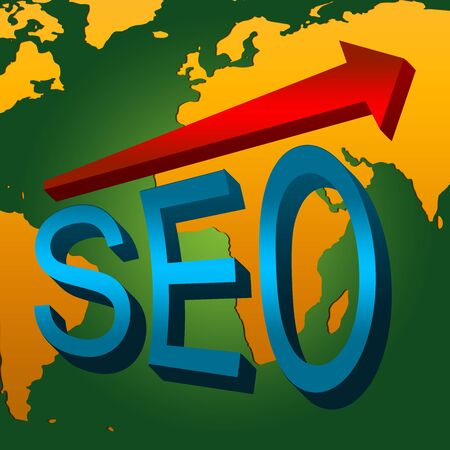 SEO Concept, Present With 3D Blue Glossy SEO and Red Glossy Arrow With World Map Background  photo