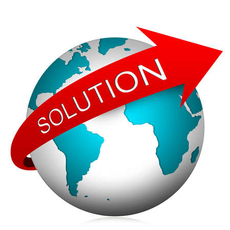 Problem and Solution Concept, Present With The Globe and Red Solution Arrow Isolated on White Background  photo