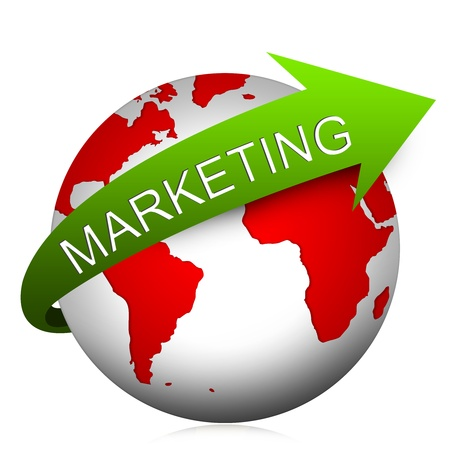 Marketing Idea Concept, Present With The Globe and Green Marketing Arrow Isolated on White Background  Stock Photo