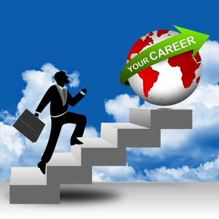 The Businessman Running on Stairway to The Globe With Green Your Career in Blue Sky Background for Job Seeker Concept