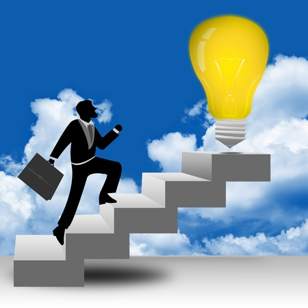 The Businessman Stepping Up a Stairway to The Light Bulb With Blue Sky Background for Business Idea Concept Stock Photo - 17455098