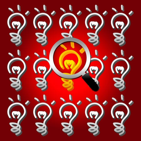A Magnifying Glass Hovers and Zoom Over Yellow Light Bulb for Idea Concept in Red Glossy Style Background Stock Photo - 17455110