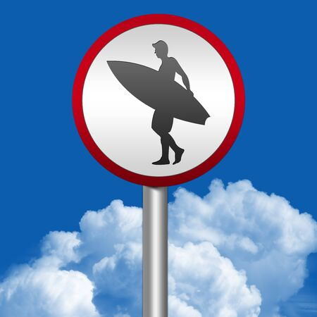 Silver Metallic Surf Area Road Sign With Red Metallic Border In Blue Sky Background  photo