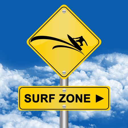 Yellow Surf Area Road Sign In Blue Sky Background  photo