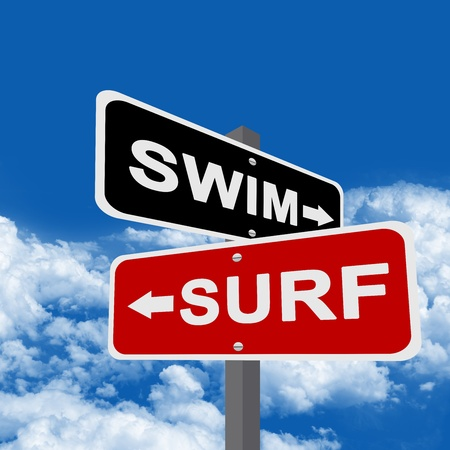 Black Swim and Red Surf Sign in Blue Sky Background  photo