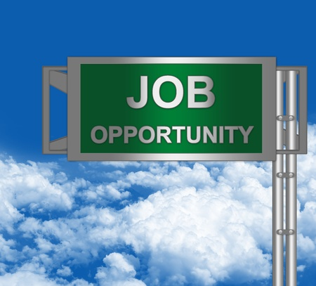 Green Metallic Opportunity Highway Road Sign in Blue Sky Background for Job Seeker Campaign  photo