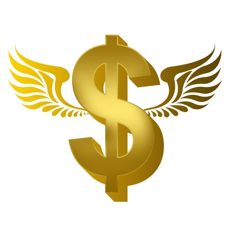 3D Flying Golden Dollar for Business Concept Isolated on White Background  photo