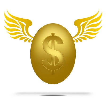 3D Flying Golden Dollar Egg for Business Concept Isolated on White Background  photo