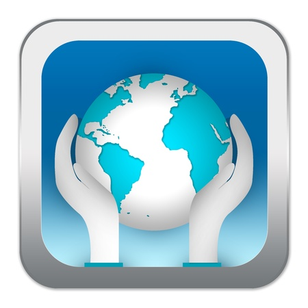 Graphic For Save The Earth Campaign, Present by Hand and 3d Globe in Blue Glossy Style Button Isolated on White Background Stock Photo - 17455094