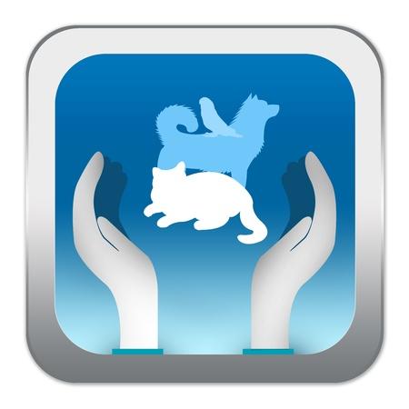 Blue Square Glossy Style Liefde Pet Teken Met Hand en Pet voor Pet Rescue campagne Geà ¯ soleerd op witte achtergrond Stockfoto