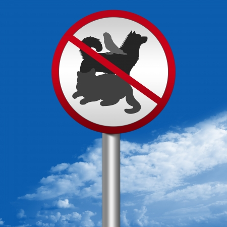Prohibited Sign, Circle No Pet Allowed Sign in Blue Sky Background photo