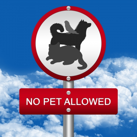 Silver and Red No Pet Allowed, Prohibited Sign in Blue Sky Background  photo