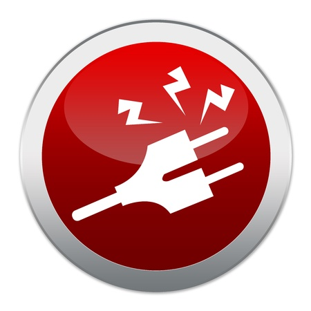precaution: Circle Red Glossy Style High Voltage Precaution Button Sign Isolated on White Background  Stock Photo