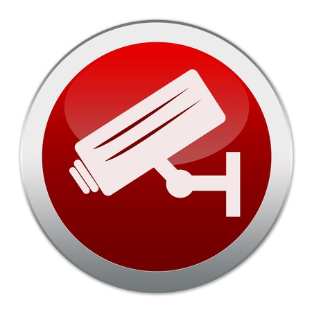 Circle Red Glossy Style Button No Trespassing Sign Present With CCTV Icon Isolated on White Background Stock Photo - 17455003