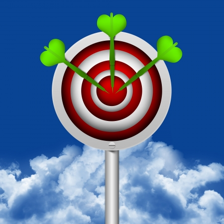 Business Concept Present With The Darts Hitting a Target in Blue Sky Background  Stock Photo - 17455113