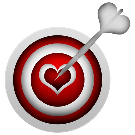 romance strategies: 3d White Dart Hitting a Heart Target Isolated on White Background Stock Photo
