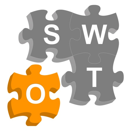 Missing Piece 3D SWOT Puzzle For Business Concept Isolated on White Background  photo