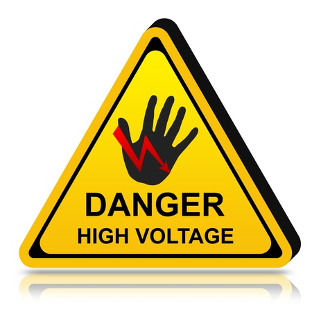 3d Yellow Triangle Danger High Voltage Sign Isolated on White Background  photo