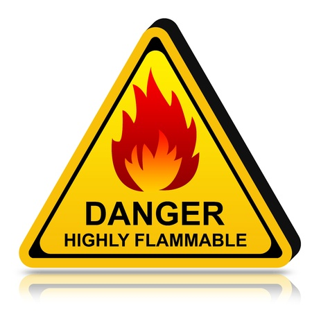 3d Yellow Triangle Danger LPG Highly Flammable Sign Isolated on White Background Stock Photo - 17455031