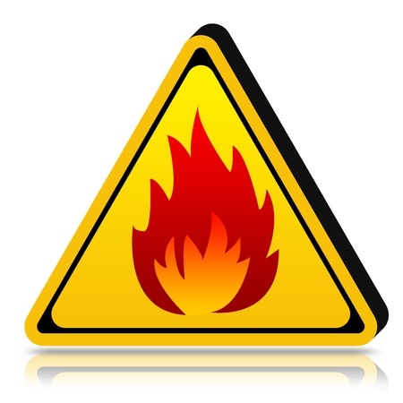 3d Yellow Triangle Highly Flammable Sign Isolated on White Background  Stock Photo - 17455020