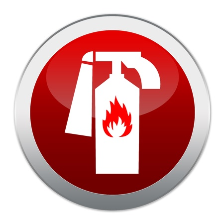 Red Circle Glossy Fire Extinguisher Sign Isolated on White Background  Stock Photo - 17454996