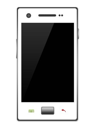 The Blank Black Screen White Smart Phone With Isolate on White Background  Stock Photo - 17454987