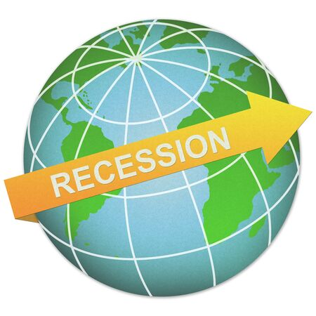 Business Solution Concept Present By Recession Arrow and The Globe Made From Recycle Paper Isolated On White Background  Stock Photo - 17455142