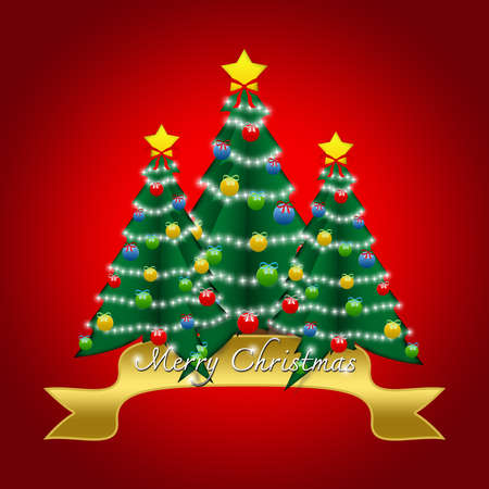 Beautiful Pop Up Merry Christmas Card With Christmas Tree and Ornament in Red Glossy Style Background  photo